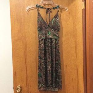 Charlotte Russe Halter Dress Green/Brown Paisley M